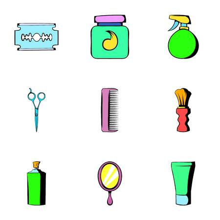 Shaving icons set. Cartoon illustration of 9 shaving icons for web 写真素材