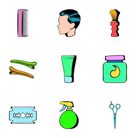 Hairdresser icons set. Cartoon illustration of 9 hairdresser icons for web