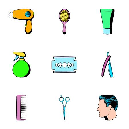 Salon icons set. Cartoon illustration of 9 salon icons for web 写真素材