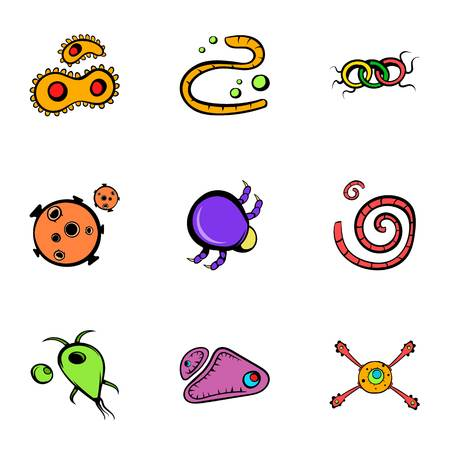 Microorganism icons set. Cartoon illustration of 9 microorganism icons for web Stock Photo