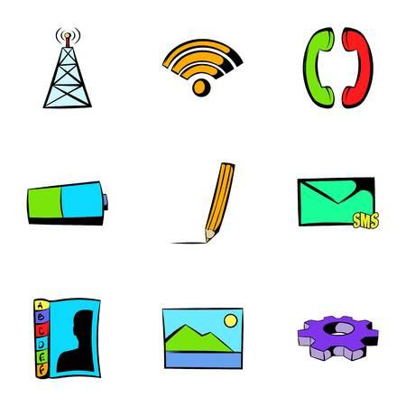 Web technology icons set, cartoon style