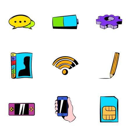 Wi fi icons set, cartoon style