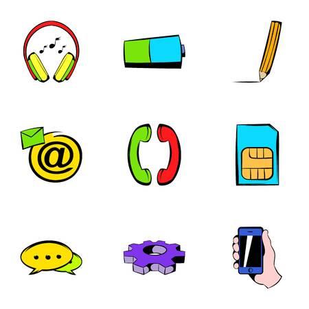 Network icons set, cartoon style