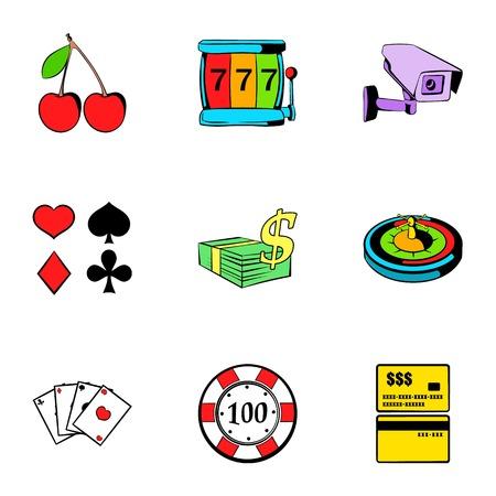 Poker icons set. Cartoon illustration of 9 poker icons for web