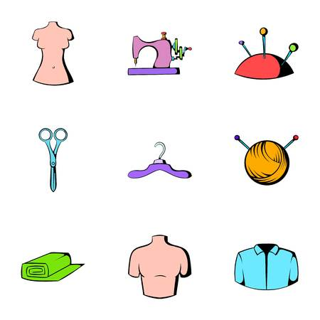 Sewing machine icons set. Cartoon illustration of 9 sewing machine icons for web