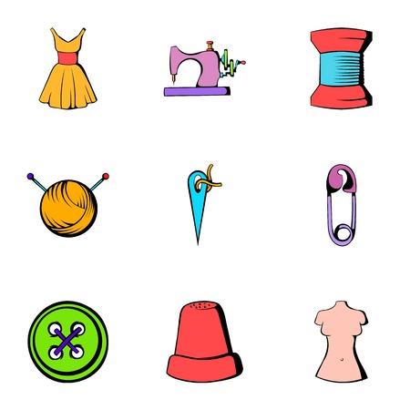 Tailor icons set. Cartoon illustration of 9 tailor icons for web