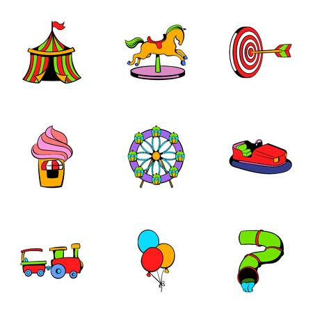 Children park icons set. Cartoon illustration of 9 children park icons for web Stock Photo