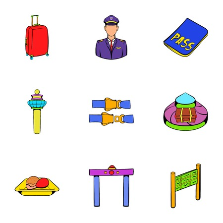 Airplane icons set. Cartoon illustration of 9 airplane icons for web