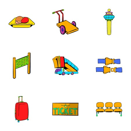 Airplane flight icons set. Cartoon illustration of 9 airplane flight icons for web