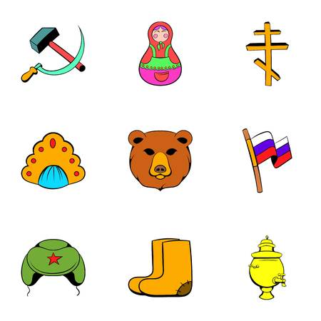 Spica icons set, cartoon style Stock Photo