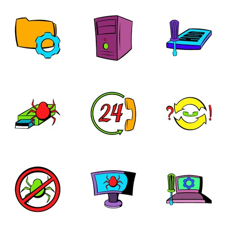 Virus danger icons set. Cartoon illustration of 9 virus danger icons for web