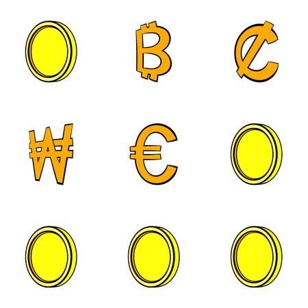 Bitcoin icons set. Cartoon illustration of 9 bitcoin icons for web