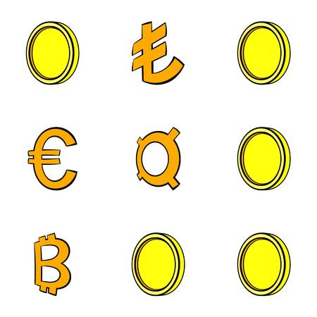 Abstract money icons set. Cartoon illustration of 9 abstract money icons for web