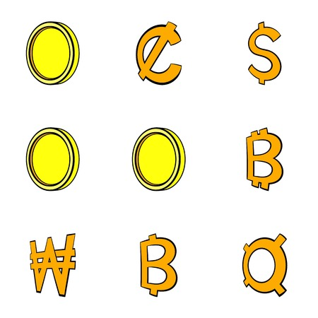 Golden coin icons set. Cartoon illustration of 9 golden coin icons for web