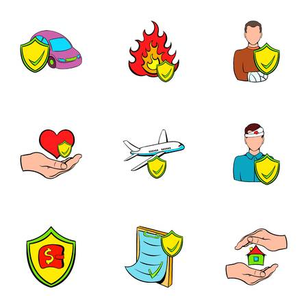 Accident icons set. Cartoon illustration of 9 accident icons for web Stock Photo