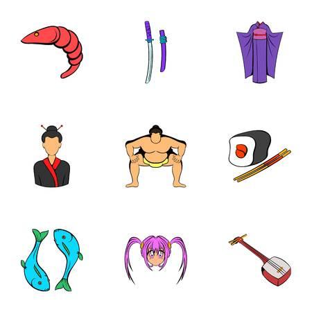 China icons set. Cartoon illustration of 9 china icons for web Stock Photo