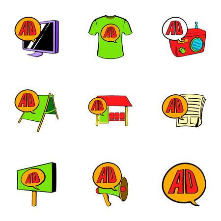 Ali express icons set. Cartoon illustration of 9 ali express icons for web 写真素材