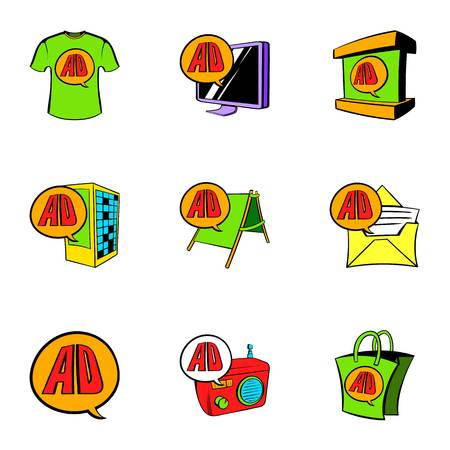 Cashpoint icons set, cartoon style