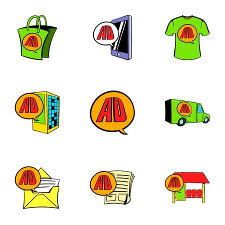 Ali express store icons set, cartoon style