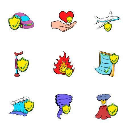 Misadventure icons set. Cartoon illustration of 9 misadventure icons for web