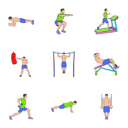 Bodybuilding icons set. Cartoon illustration of 9 bodybuilding icons for web