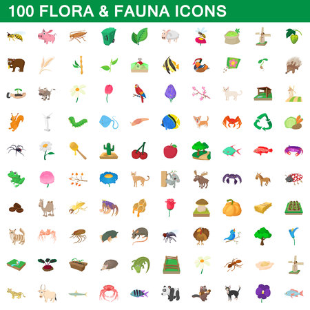 100 flora and fauna icons set in cartoon style for any design illustration Standard-Bild - 107908541