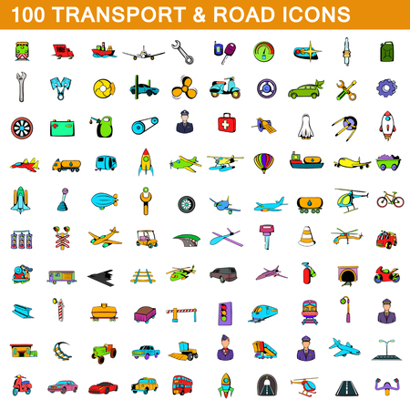 100 transport icons set in cartoon style for any design illustration
