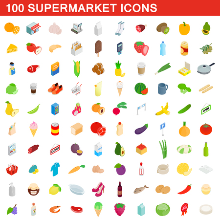 100 supermarket icons set, isometric 3d style Stok Fotoğraf
