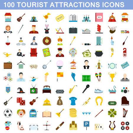 100 tourist attraction icons set in flat style for any design illustration Stock Photo