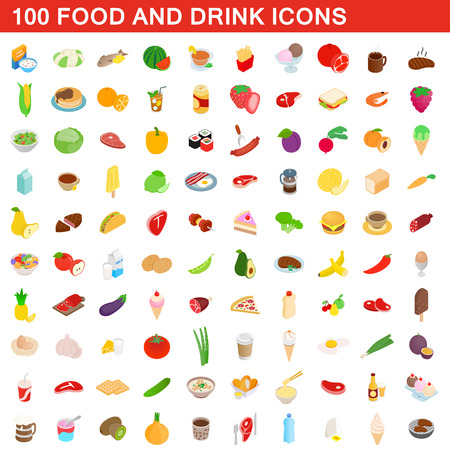 100 food and drink icons set, isometric 3d style