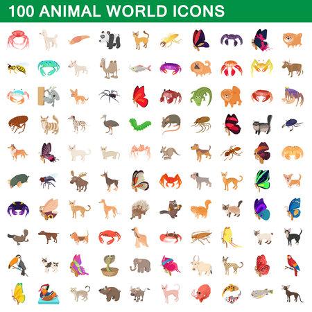 100 animal world set, cartoon style Standard-Bild - 107914527