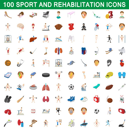 100 sport and rehabilitation set, cartoon style
