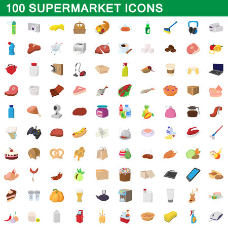 100 supermarket set, cartoon style