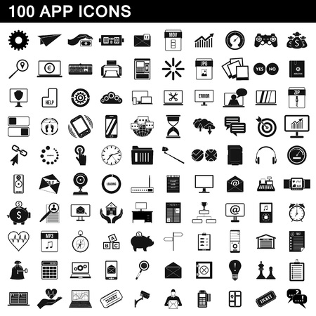 100 app icons set, simple style