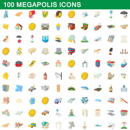 100 megapolis icons set, cartoon style Stock Photo