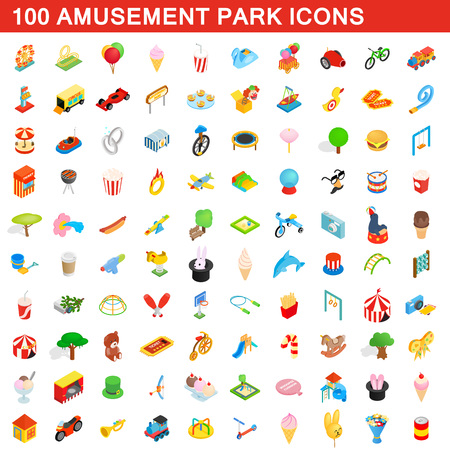 100 amusement park icons set, isometric 3d style
