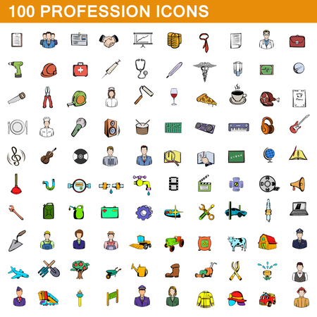 100 profession icons set, cartoon style Stock Photo