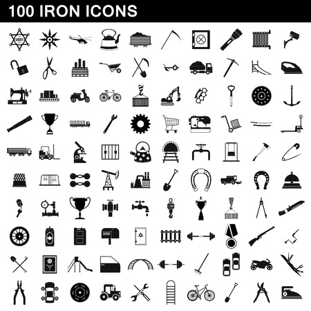 100 iron icons set, simple style Stok Fotoğraf