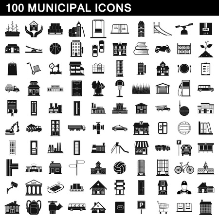 100 municipal icons set, simple style Stock Photo