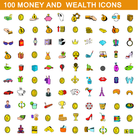 100 money and wealth icons set, cartoon style