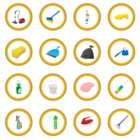 Cleaning cartoon icon circle Stock Photo - 107913856