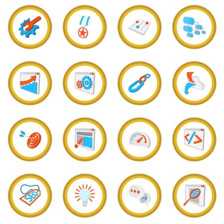 Seo 16 cartoon icon circle Stock Photo