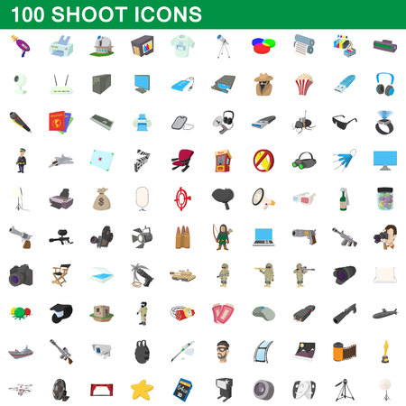 100 shoot icons set, cartoon style 版權商用圖片