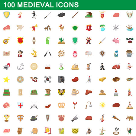 100 medieval icons set, cartoon style
