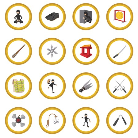 Ninja cartoon icon circle 写真素材