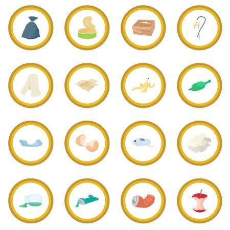 Garbage set icon circle
