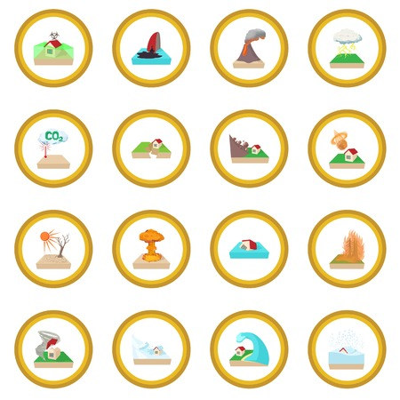 Natural disaster icon circle Stock Photo