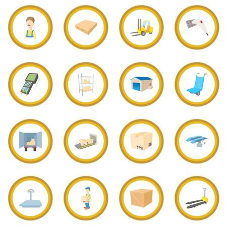Warehouse logistic storage icon circle