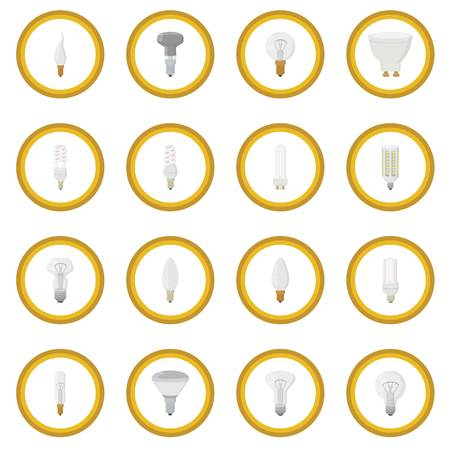 Light bulb icon circle cartoon isolated illustration