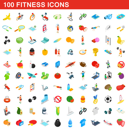 100 fitness icons set, isometric 3d style Banco de Imagens